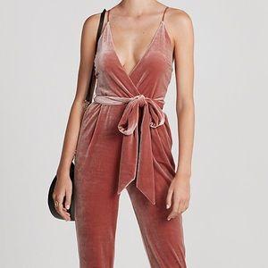 d867f84605eb Express Pants - R29 Editor Pick EXPRESS Velvet Jumpsuit Rose Gold
