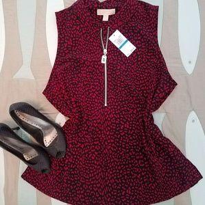 New Michael kors shift blouse sleeveless black red