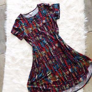 LuLaRoe Wavy Rainbow Print Carly Dress