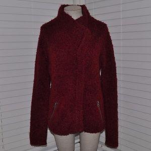 MAX STUDIO Burgundy Boucle Knit Sweatercoat [A4]
