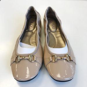 Me Too Beige Leather Ballerina Flats