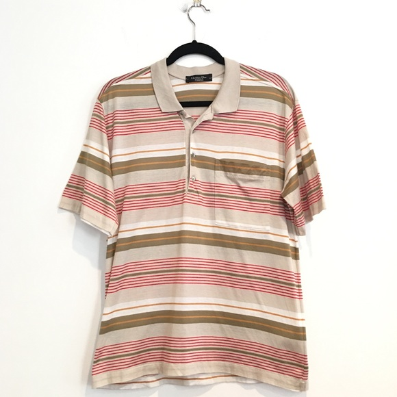 4fd46d1b0 Christian Dior Shirts | Vintage Polo Shirt Medium Stripes | Poshmark