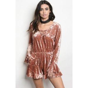 Dresses & Skirts - Crushed Velvet Sexy Romper New Dusty Rose S M L