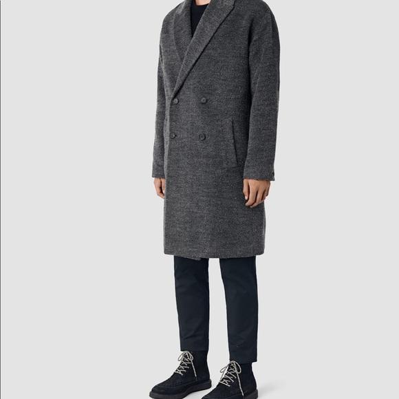 AllSaints Double-Breasted Long Coat Best Wholesale Online Clean And Classic Designer Discount Footlocker QZPVZ5