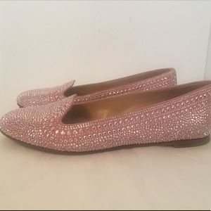 Valentino Crystal Strauss Pink Loafers Flats 36 6