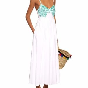 Mara Hoffman White Palm Embroidered Maxi Dress