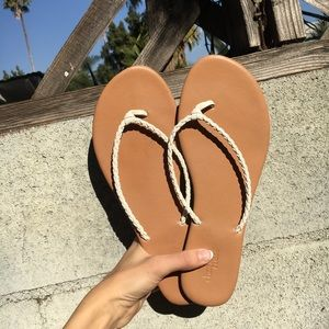 Simple White Braided Flip Flops
