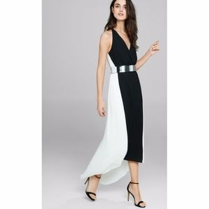 Express Sleeveless Colorblock Belted Maxi Dress