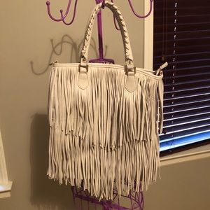 H&M White Fringe Purse Handbag