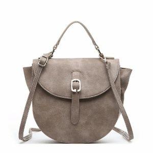 NWT Taupe/Grey Saddle Crossbody Bag