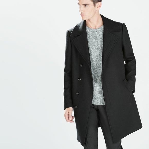 ZARA MAN BLACK WOOL PEACOAT coat mens small