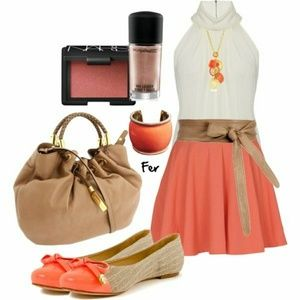 Coral A line Skirt