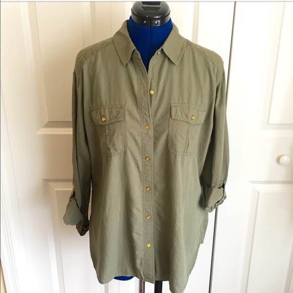 Chicos Tops Olive Green Button Up Shirt Poshmark