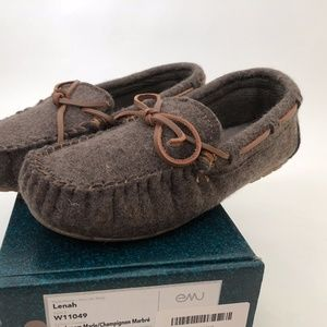 NWT New EMU Lenah Moccasin Slipper Wool Felt Brown
