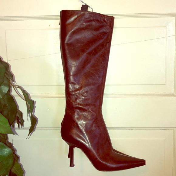 be1130da004 JIMMY CHOO Glynn Brown Leather Knee High Boots
