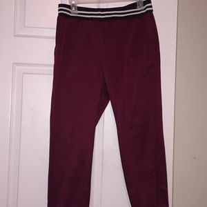 Pants - ($6 when bundled) Burgundy,white and black joggers