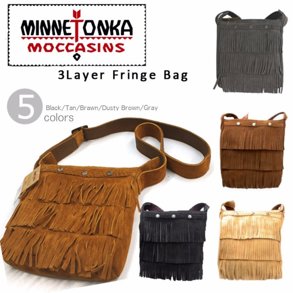 Minnetonka Bags | 3 Lay Fringe Brown Suede Crossbody Bag | Poshmark