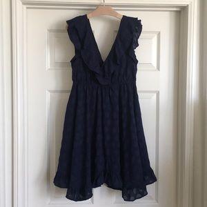 Short blue polka dot dress