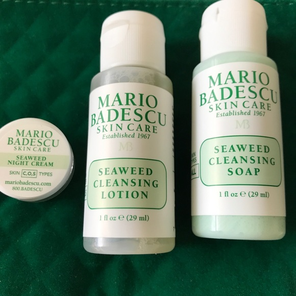 Mario Badescu Gift Set Bundle Green Velvet Bag Nwt