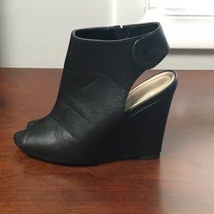 Black wedge heels, size 7