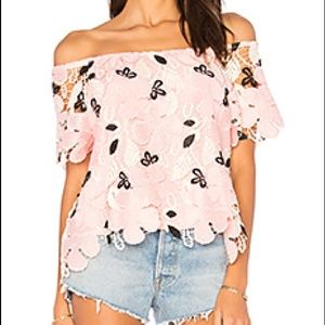 Pink and white lace top