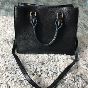 H&M black handbag W/ hunter green trimming