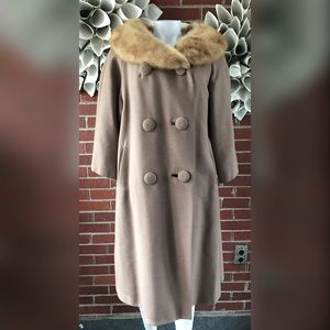 VTG 50s Double Breasted Trench Coat Fir Collar