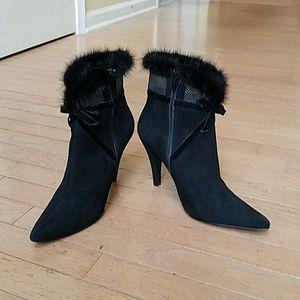 Beautiful custom made black suede booties