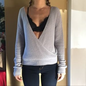 Tops - Open back and front knitted crochet top long sleee