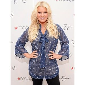 Jessica Simpson Star Print Bell Sleeve Blouse