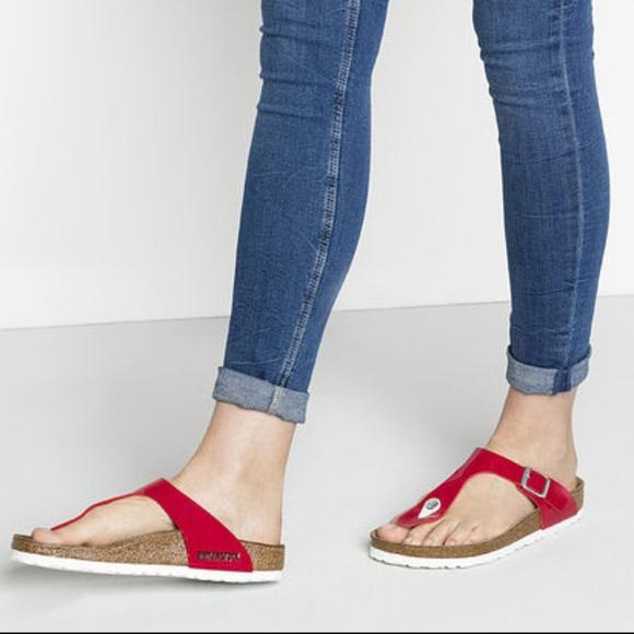 43f6a120779 Birkenstock Shoes - Gizeh Birko-Flor Tango Red Patent Birkenstocks