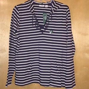 LL Bean Navy& White Nautical pullover