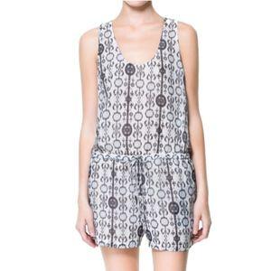 Zara Printed Blue & White Romper/Jumpsuit/Playsuit