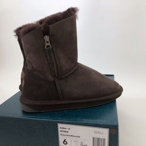 New EMU Ambar Lo Chocolate Brown BOOTS  Suede Wool