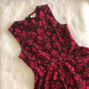 [maison jules] red and black floral crochet dress