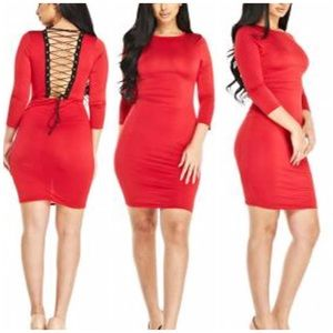 e9af7fb2831d Dresses   Skirts - Red Bodycon Dress with Lace Up Back