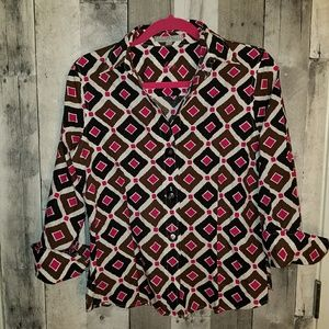 Foxcroft wrinkle free fitted blouse size 6 top