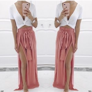 Dresses & Skirts - Pink slit skirt - brand new!