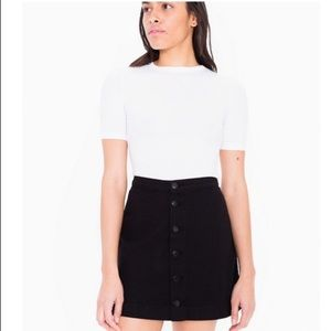Black Corduroy American Apparel Button Front Skirt