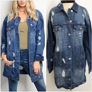 Jackets & Blazers - Distressed Denim Jean Jacket Tunic Length SMLXL