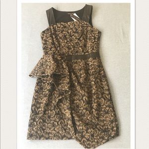Cynthia Steffe Peplum Dress Leather Accents $400