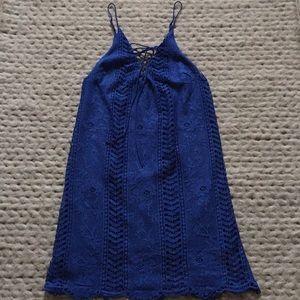 Blue lace eyelet dress