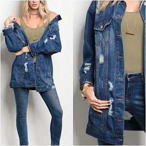 Jackets & Blazers - Distressed Denim Jean Jacket Tunic Length SML
