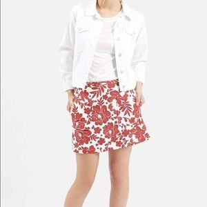 NWT Topshop Red & White Floral Skirt w/ POCKETS