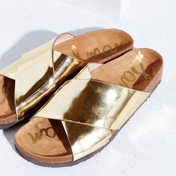 69a657d385bd6a Sam Edelman Adora Liquid Gold Cross Strap Sandals