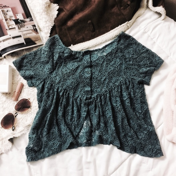 c5d59a5febcfb8 Urban Outfitters Tops | Kimchi Blue Lace Open Back Top | Poshmark