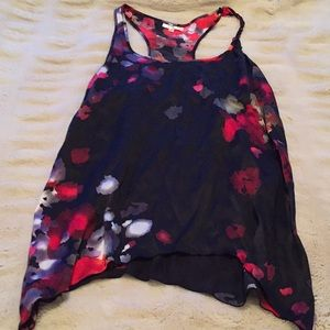 Marty M black and red floral blouse