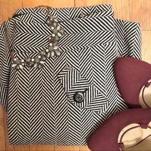 Herringbone wool career skirt