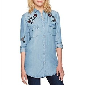 Floral Embroidered Denim Shirt