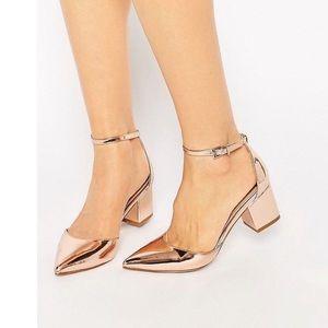 ASOS Truffle Pointed Block Heel Gold Heels Wide